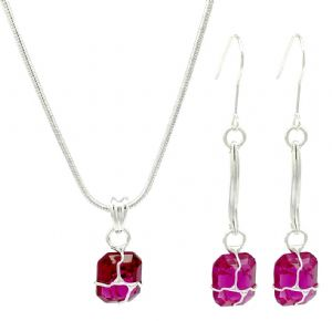 Wired Pink Glass Drop Earrings & Necklace Set
